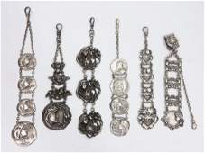 394 ART NOUVEAU STERLING SILVER WATCH FOBS