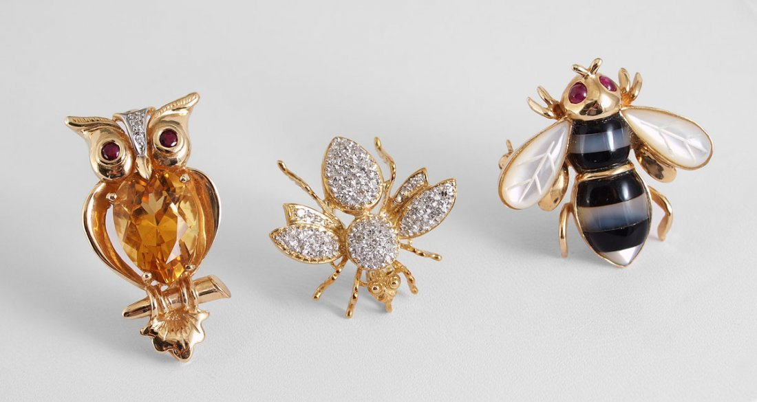 385: TRIO OF 14k GOLD BUG AND OWL PINS