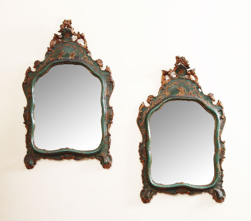 18: PAIR EARLY CONTINENTAL CHINOISERIE WALL MIRRORS