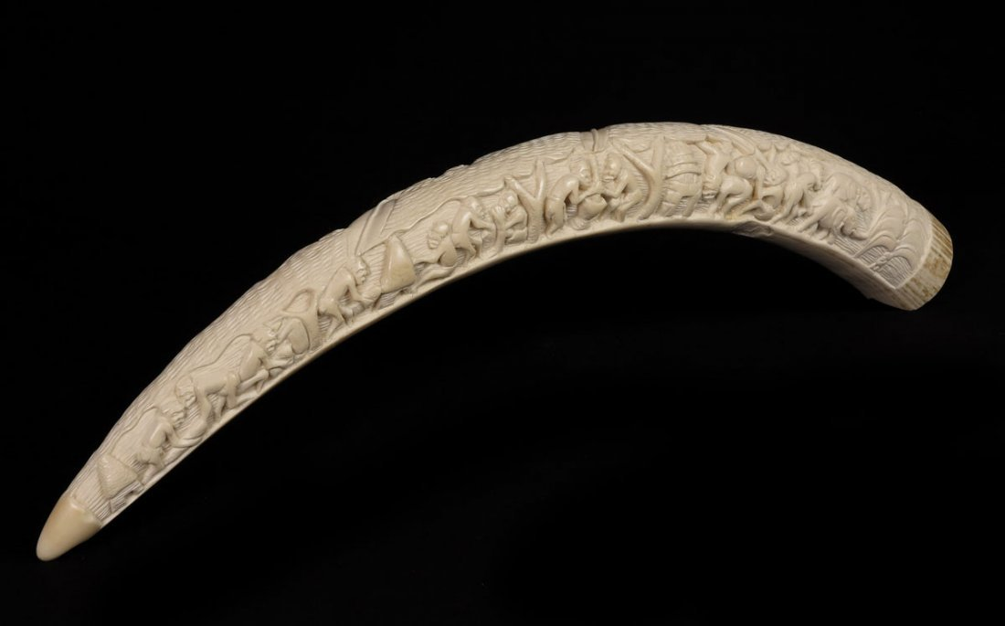 55: CARVED AFRICAN IVORY TUSK - 3