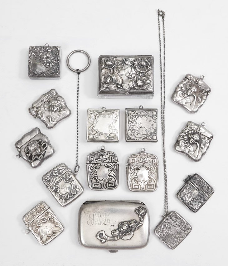 377: COLLECTION OF ART NOUVEAU STERLING STAMP CASES