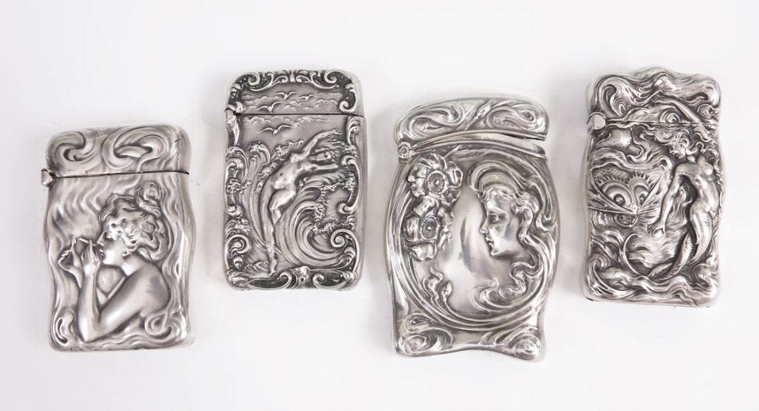 393: 4 UNGER BROTHERS ART NOUVEAU STERLING MATCH SAFES