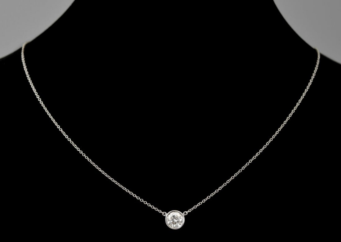 147: TIFFANY & CO .78 CT DIAMOND PENDANT NECKLACE - 2