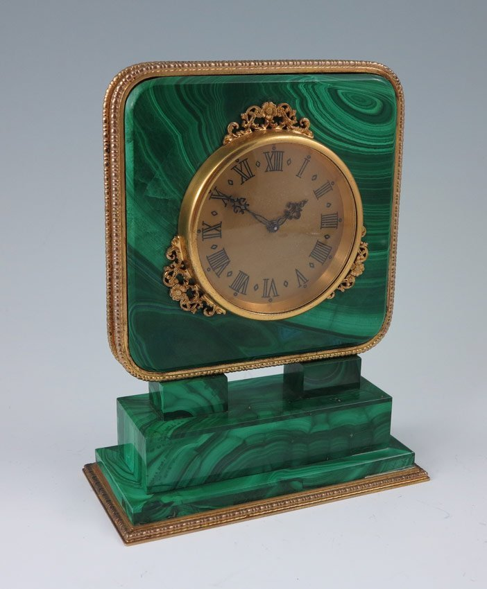 1: ITALIAN SILVER & MALACHITE DESK CLOCK