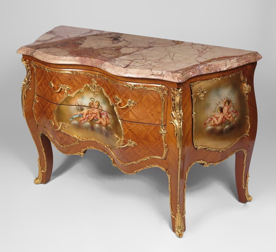 6: FRENCH MARBLE TOP PAINTED & ORMOLU MOUNTED COMMODE