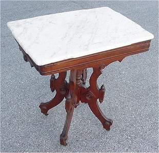 MARBLE TOP VICTORIAN LAMP TABLE