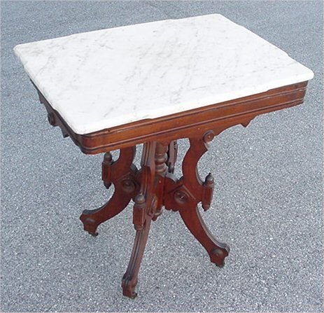 2C: MARBLE TOP VICTORIAN LAMP TABLE