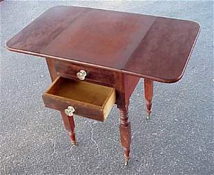 19TH C DROP LEAF TWO DRAWER WORK STAND