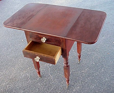 4: 19TH C DROP LEAF TWO DRAWER WORK STAND