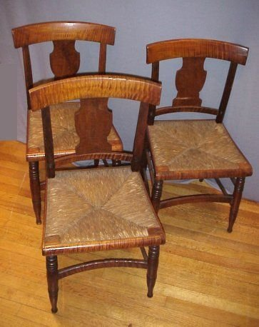 8B: SET OF 3 19th C TIGER MAPLE CHAIRS: