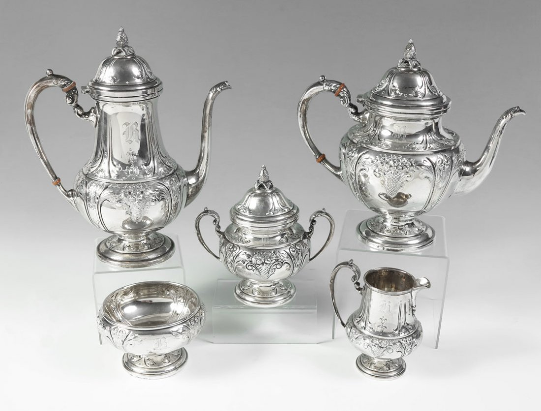 7: 5 PIECE WHITING HAND CHASED STERLING TEA SERVICE