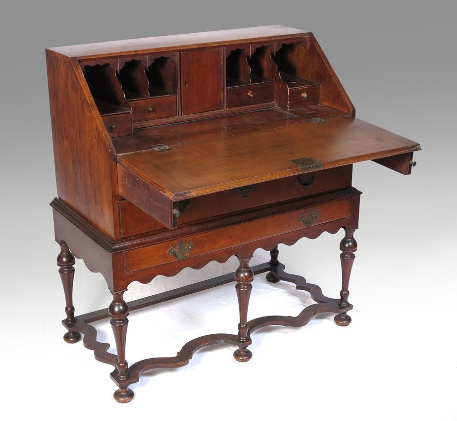 12: 19TH CENTURY FALL FRONT DESK ON STAND