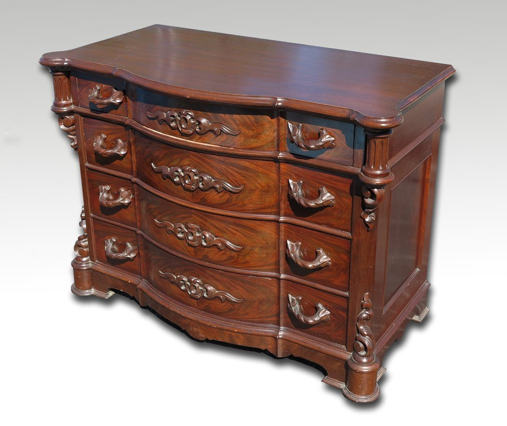 20: CARVED MAHOGANY 4 DRAWER CHEST