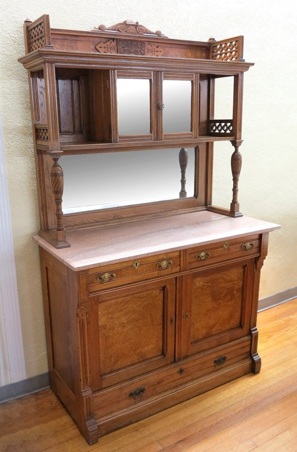 17: MARBLE TOP VICTORIAN SIDEBOARD CABINET