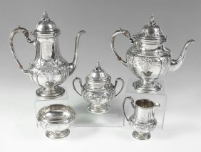 6: 5 PIECE WHITING HAND CHASED STERLING TEA SERVICE