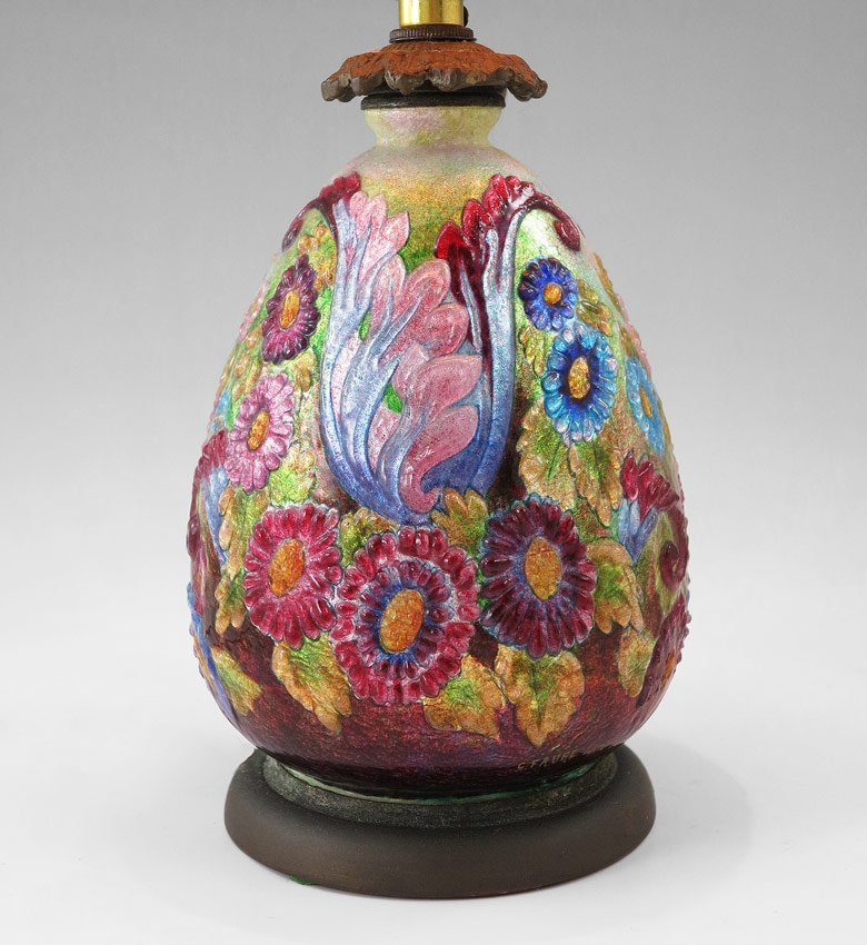9: CAMILLE FAURE FRENCH ENAMELED LAMP, SIGNED