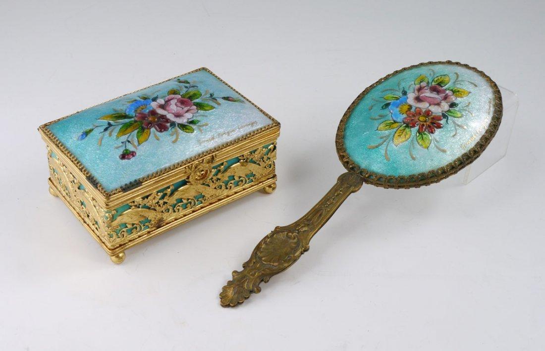 10: NIVARD-PINGEN LIMOGES ENAMEL BOX & MIRROR