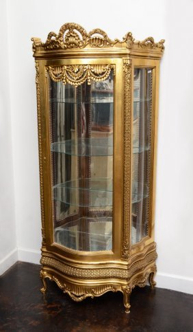 FRENCH STYLE CARVED GOLD GILT DISPLAY CABINET