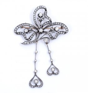 13: RUSSIAN STERLING & GOLD DIAMOND BROOCH 3.89 ctw OLD