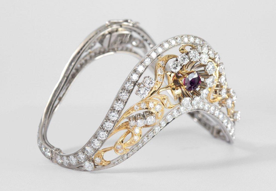 14: RUSSIAN HALLMARK 18K GOLD RUBY & DIAMOND BRACELET