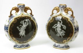 3A: A GRAND PAIR OF ROYAL WORCESTER MEDALLION VASES
