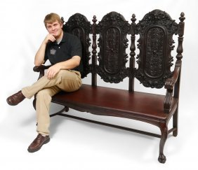 NORTHWIND CARVED TRIPLE SEAT BENCH