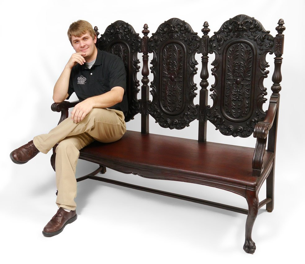 14A: NORTHWIND CARVED TRIPLE SEAT BENCH