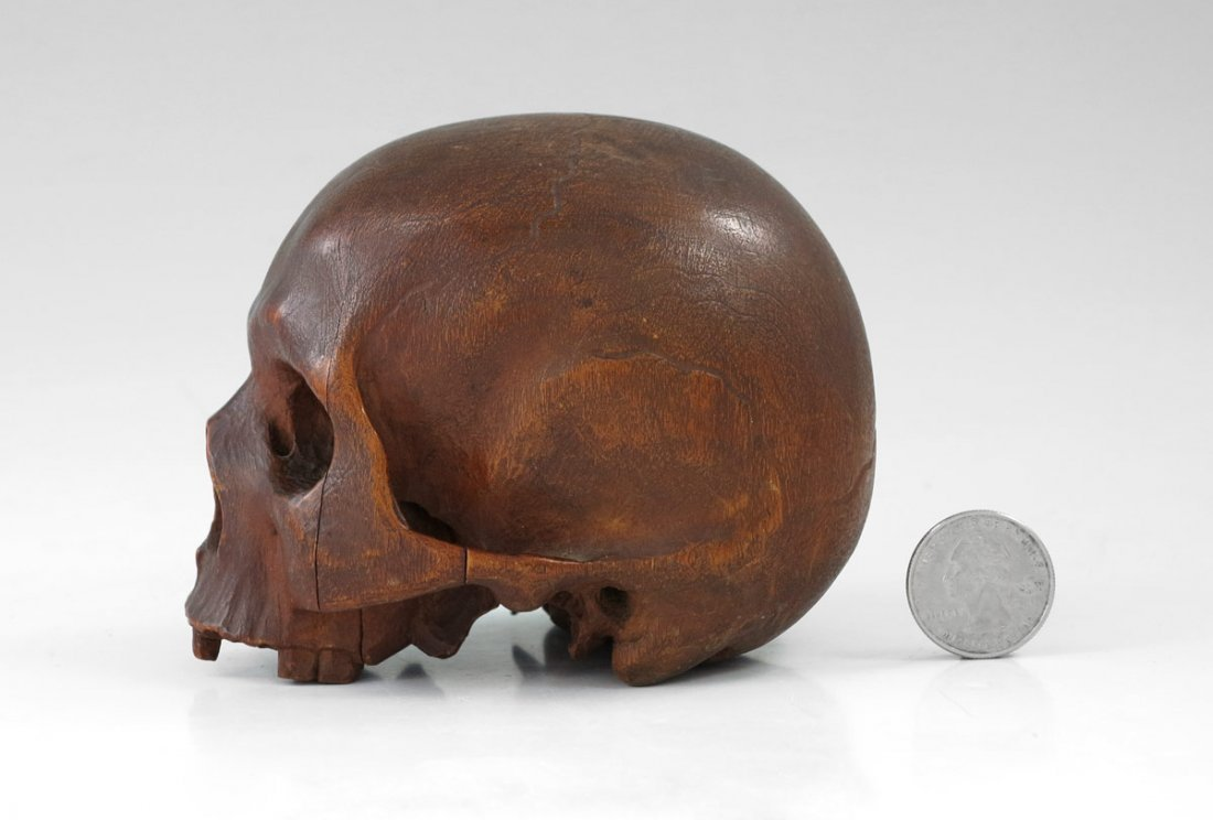 199: EARLY CARVED WOODEN SKULL - 4