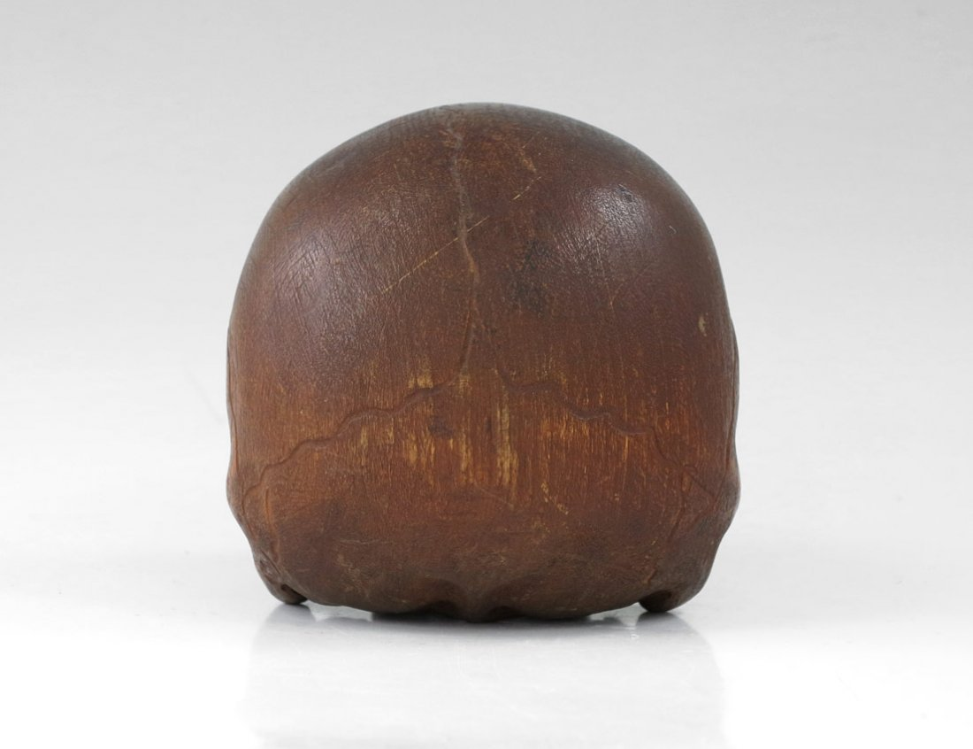 199: EARLY CARVED WOODEN SKULL - 5