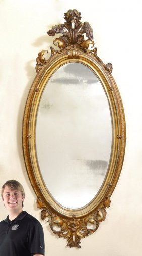 7 Ft Tall AMERICAN N Y ROCOCO REVIVAL GILDED MIRROR