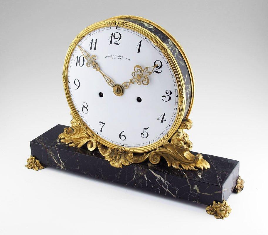 E.F.CALDWELL ORMOLU & MARBLE MANTLE CLOCK