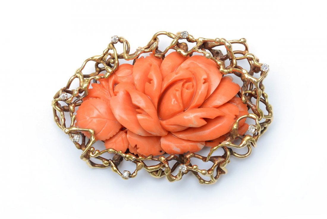 CARVED CORAL AND .33 CT DIAMOND BROOCH