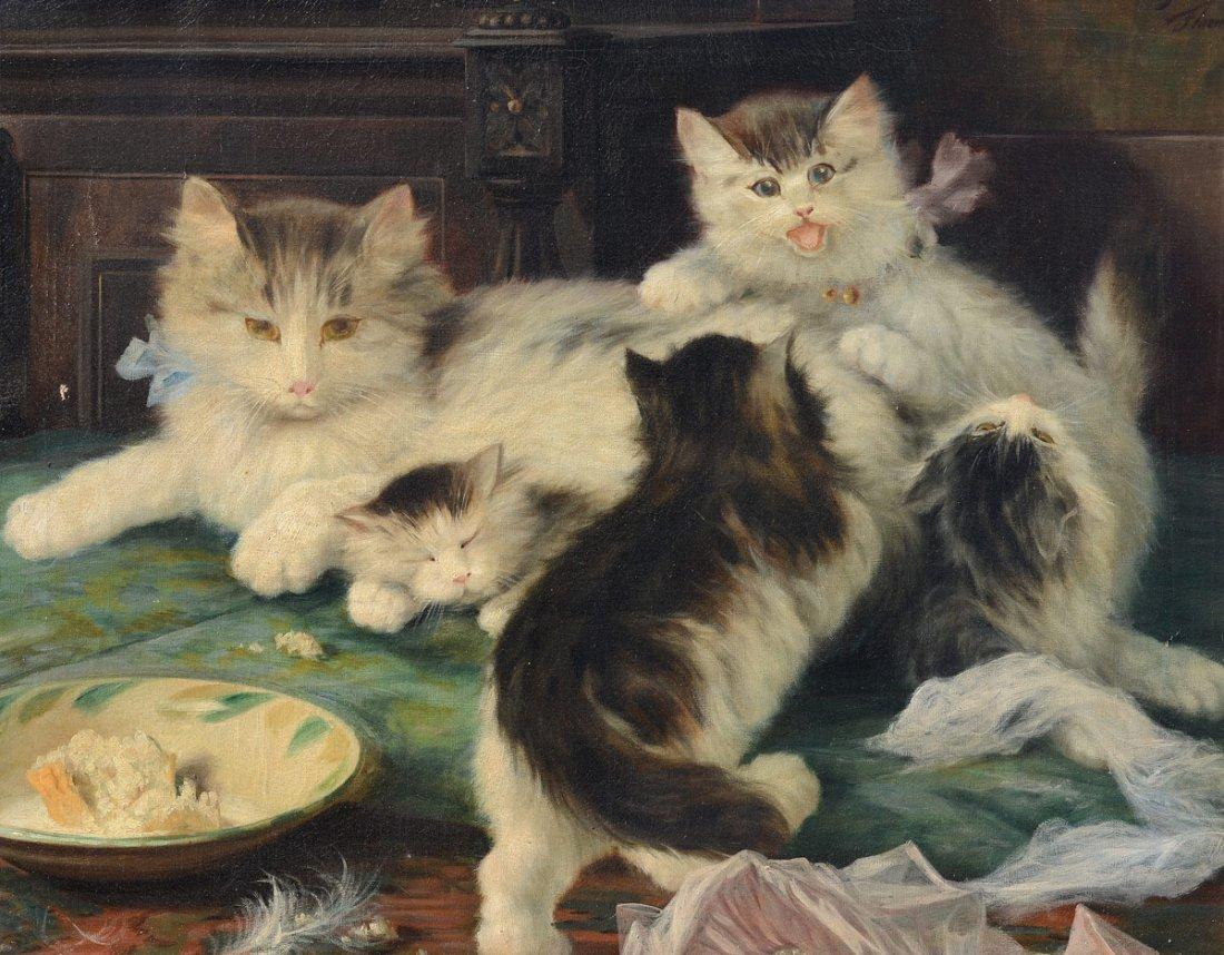 LICINIO BARZANTI KITTENS AT PLAY PAINTING