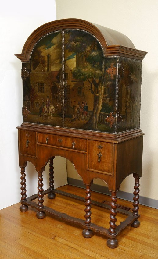 WILLIAM & MARY STYLE PAINT DECORATED CABINET