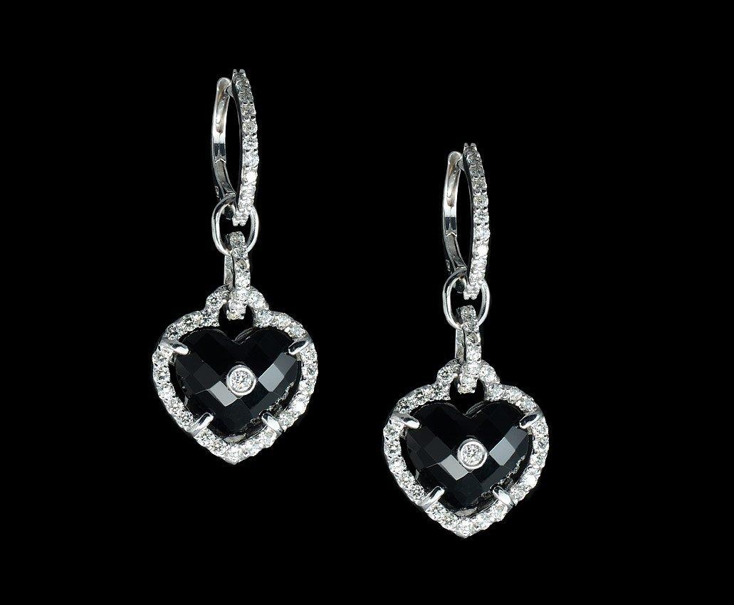 18K GOLD DIAMOND & ONYX HEART EARRINGS