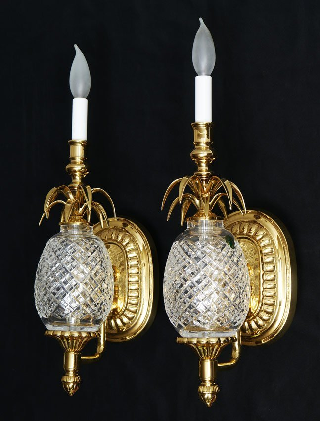 PAIR WATERFORD PINEAPPLE WALL LIGHT SCONCES
