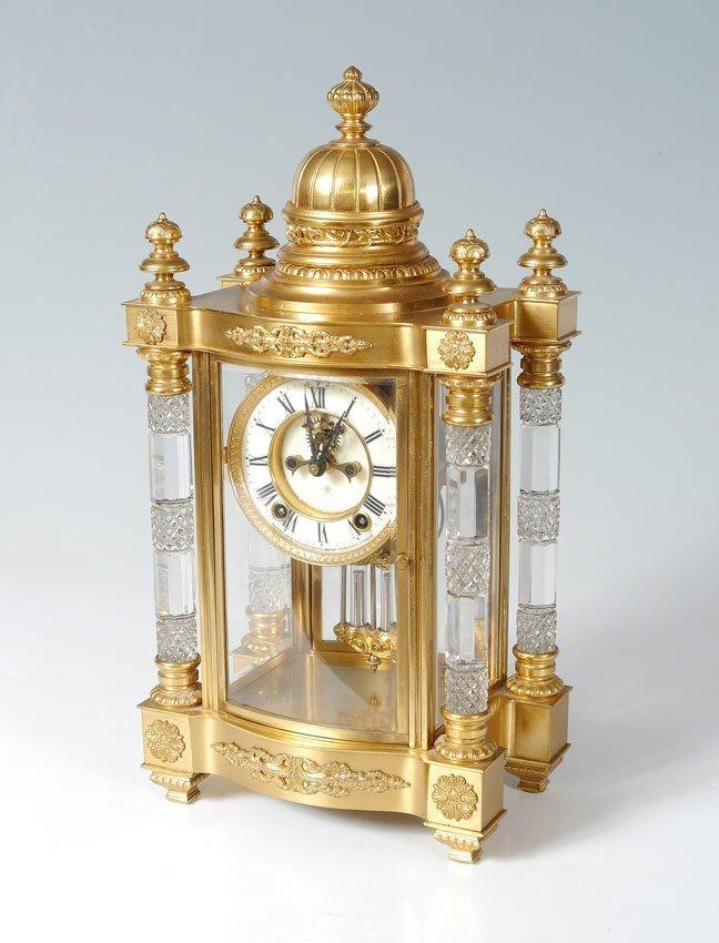 ANSONIA UTOPIA CUT GLASS CRYSTAL REGULATOR CLOCK
