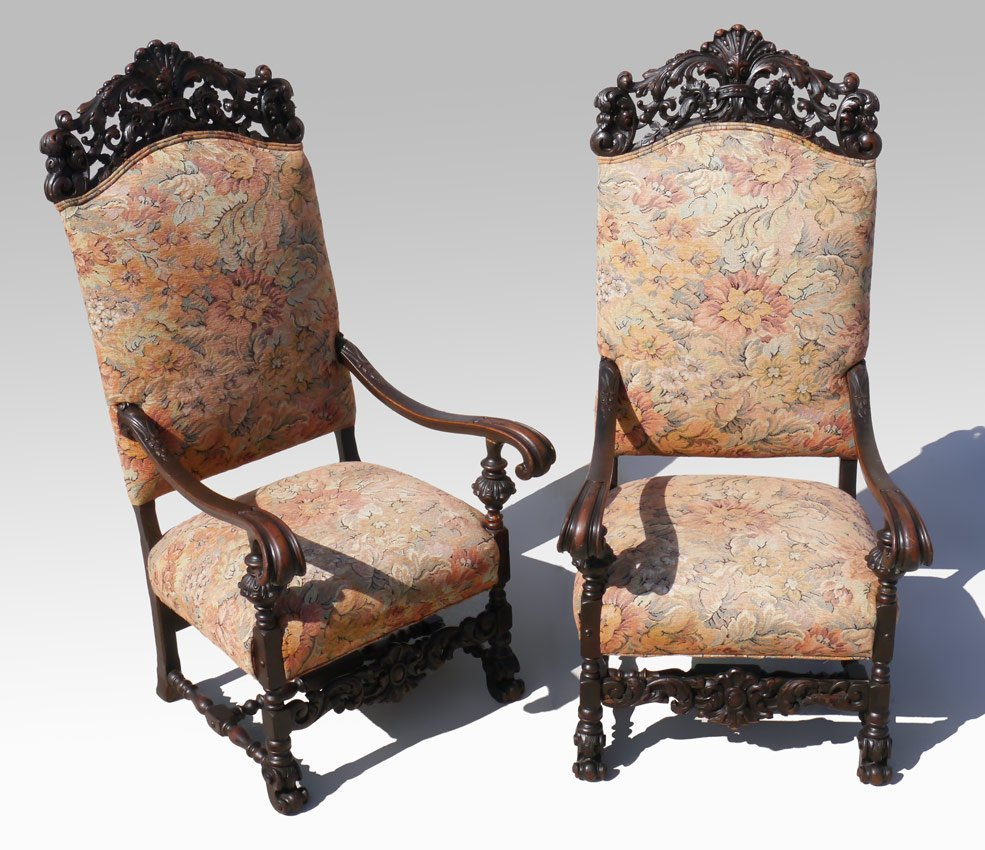 PAIR RICHLY CARVED ITALIAN THRONE TYPE CHAIRS