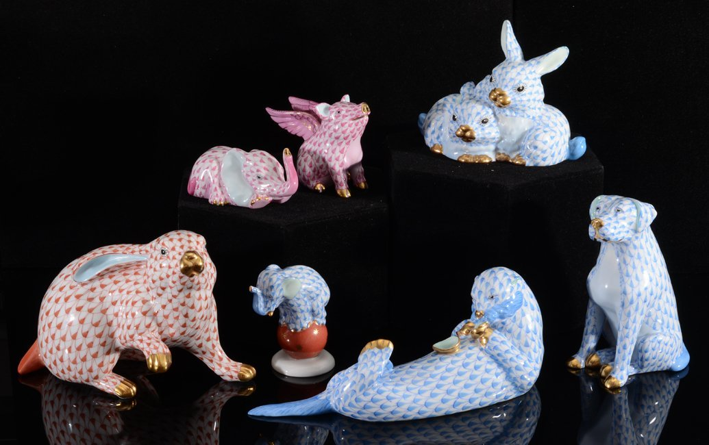 COLLECTION OF 7 HEREND PORCELAIN ANIMALS