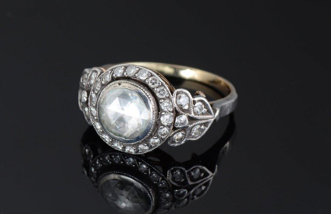 ANTIQUE ROSE CUT DIAMOND RING STERLING & GOLD Sz7.5
