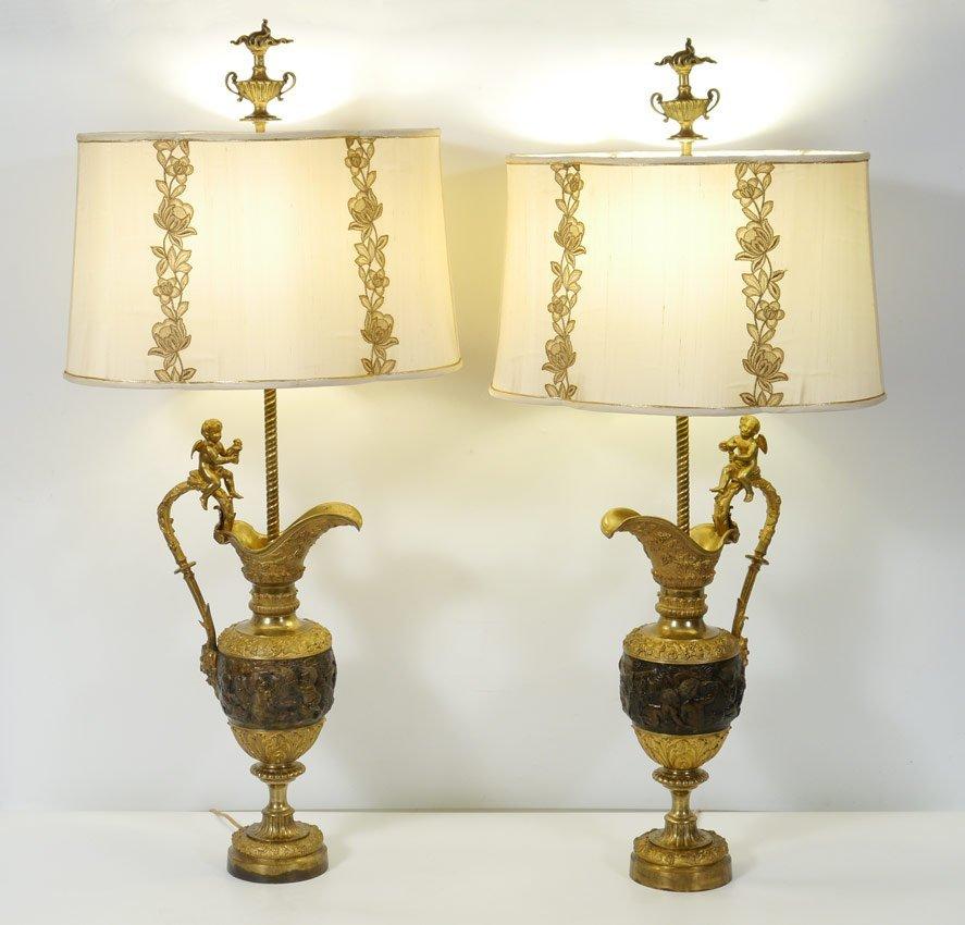 PAIR OF FIGURAL BRONZE URN LAMPS
