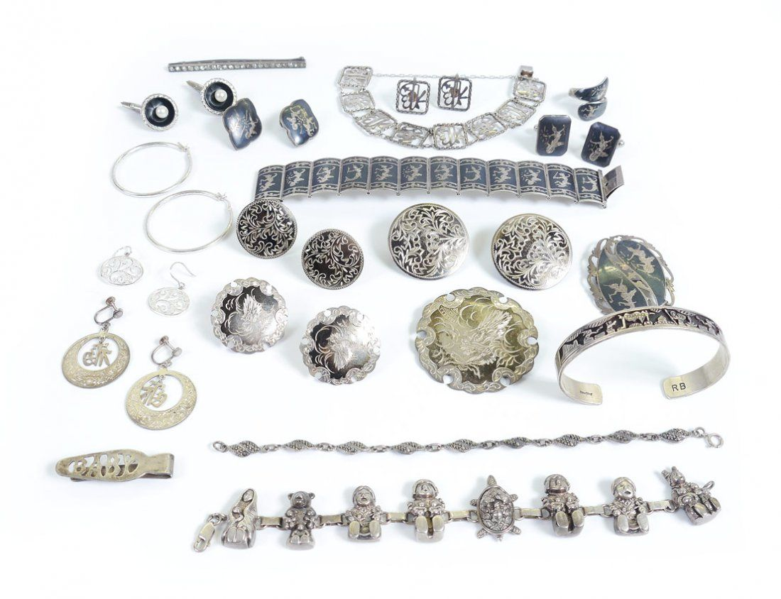 TRAY LOT VINTAGE STERLING JEWELRY INCLUDING SIAM
