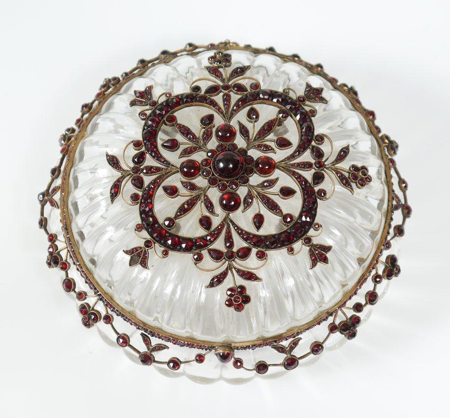 BOHEMIAN GARNET AND GLASS DRESSER JAR