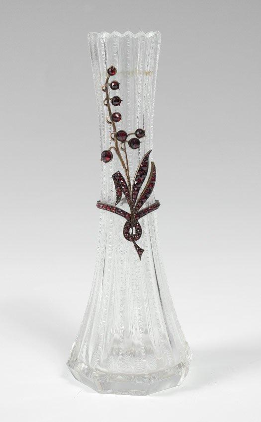 CUT GLASS VASE ADORNED WITH BOHEMIAN GARNETS
