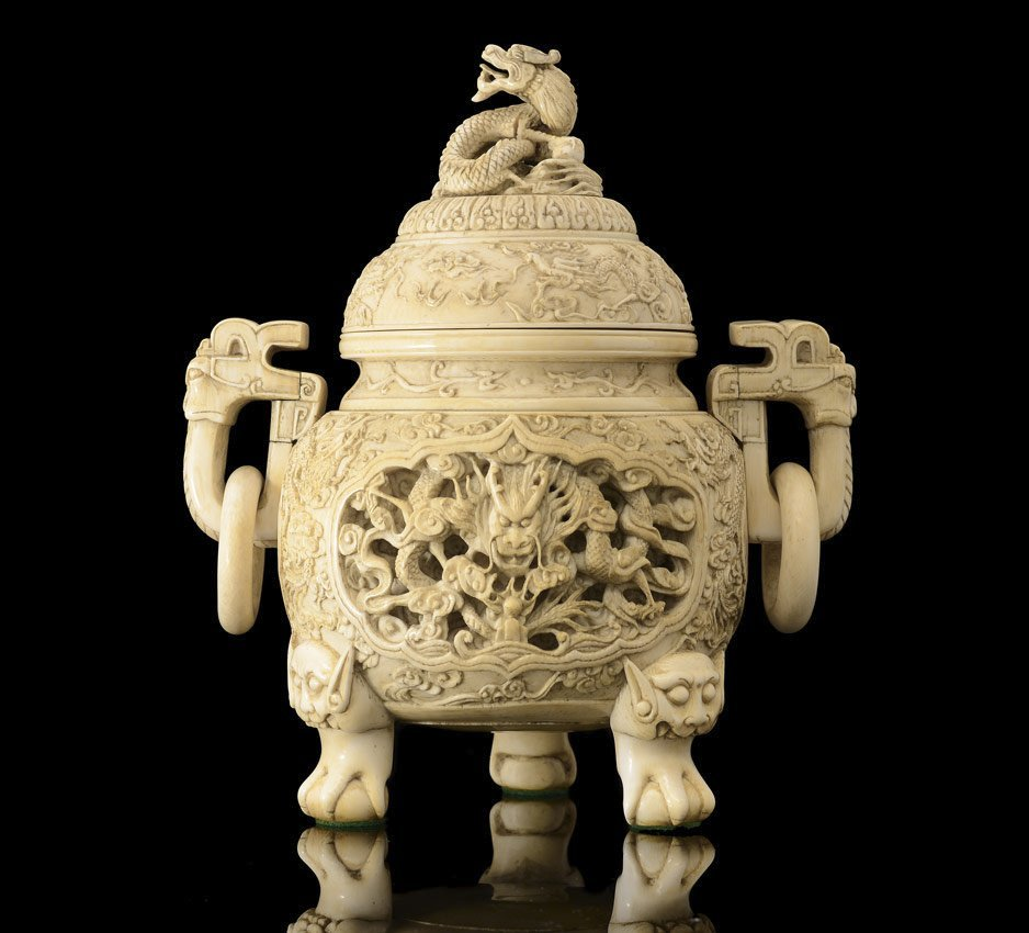 DRAGON MOTIF CHINESE CARVED IVORY CENSOR