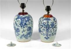 2 ASIAN EARTHENWARE BLUE UNDER GLAZE LAMPS