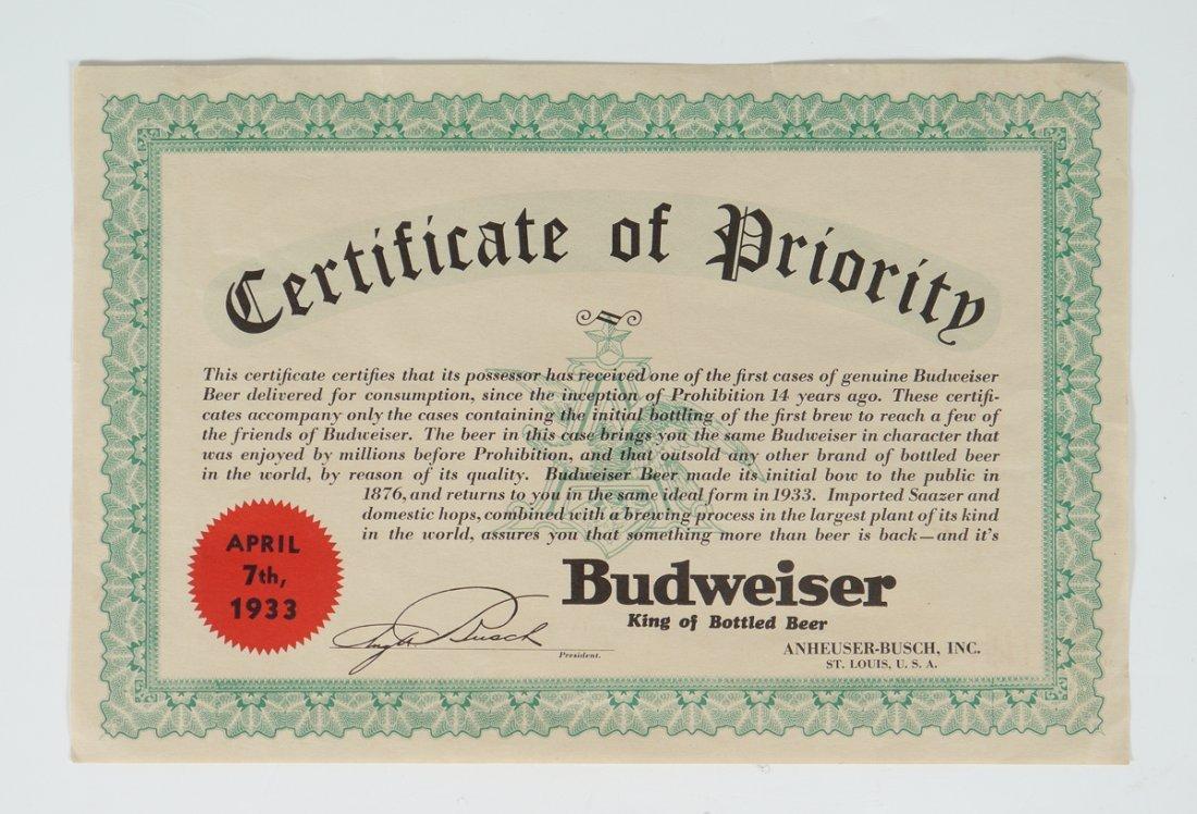 1933 BUDWEISER CERTIFICATE OF PRIORITY