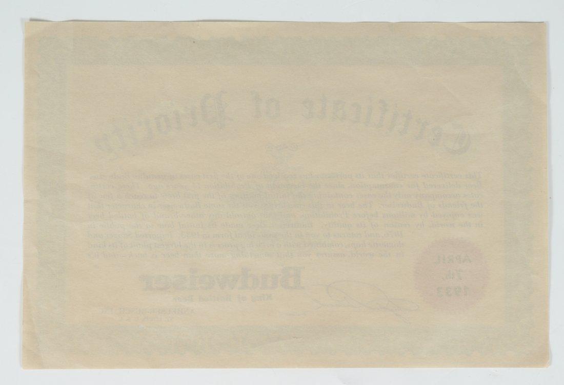 1933 BUDWEISER CERTIFICATE OF PRIORITY - 2