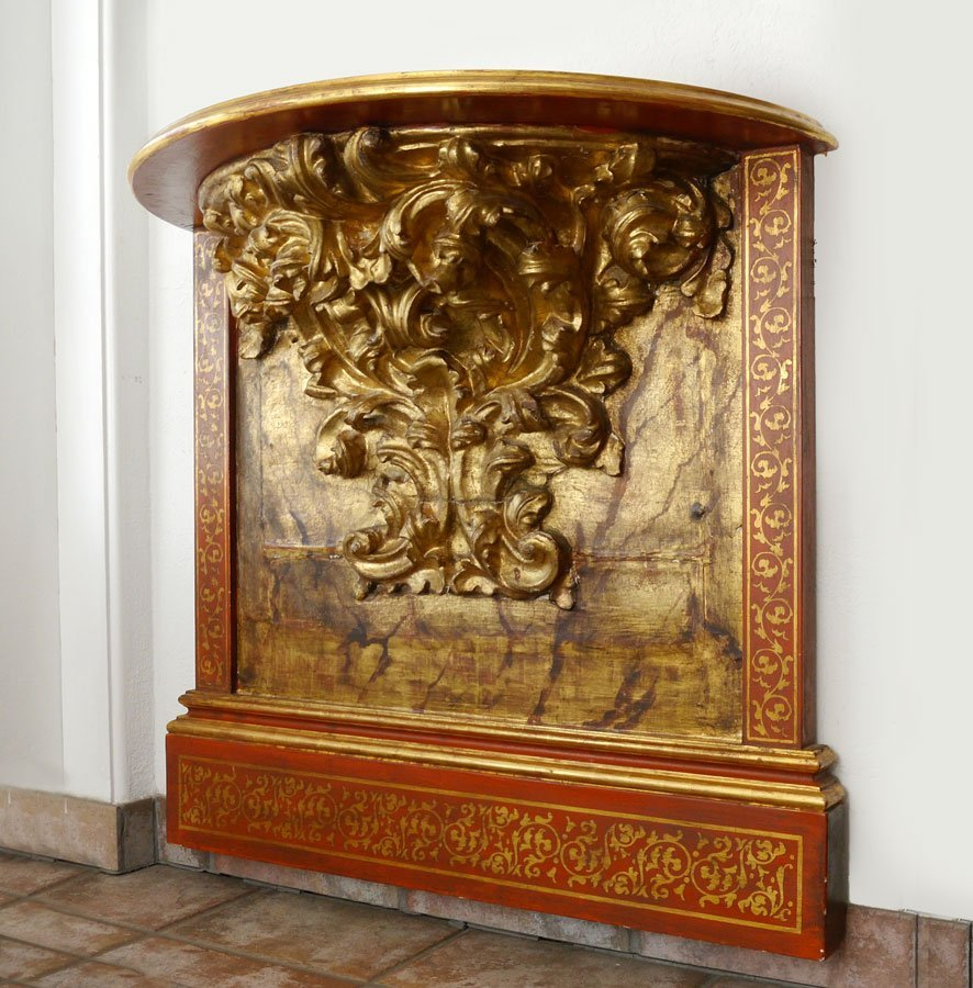 PAINTED AND GILT CARVED ARCHITECTURAL WALL SHELF