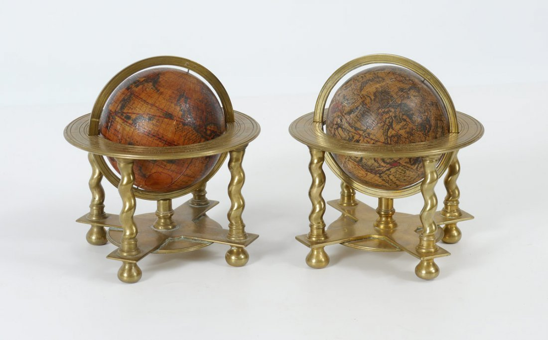 PAIR CORONELLI BRASS MOUNTED TABLE GLOBES